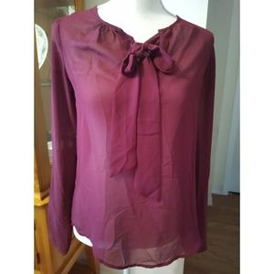 Size XS The Limited maroon sheer long sleeve top